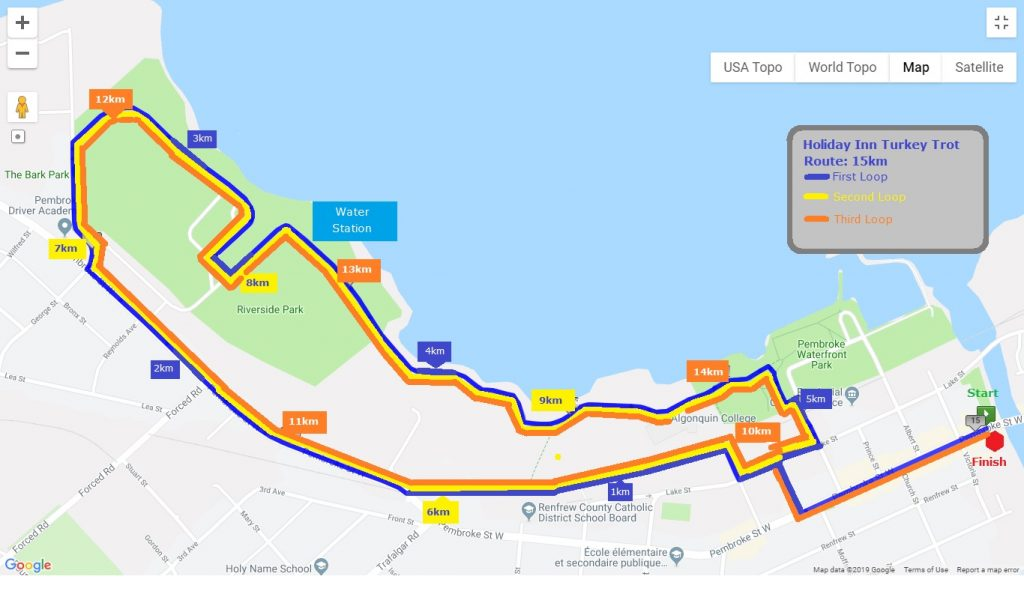 Turkey Trot 15K route